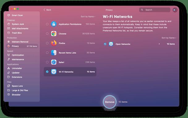 CleanMyMac X - open wi-fi networks